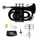 Merano B Flat Black Brass Pocket Trumpet,Case+Stand+Metro Tuner+Black Music Stand