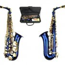 E Flat Blue Alto Saxophone with Zippered Hard Case