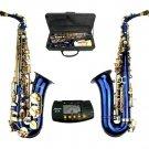 E Flat Blue Alto Saxophone with Case,Free Metro Tuner