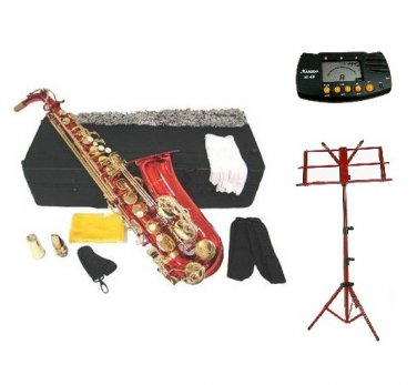 MERANO E Flat Red / Gold Alto Saxophone with Case, Metro Tuner.Red Music Stand