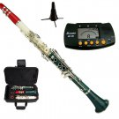 MERANO RED-WHITE-GREEN CLARINET WITH CASE,11 REEDS, METRO TUNER, CLARINET STAND