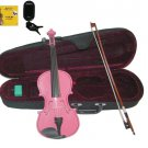 Merano 1/4 Size Hot Pink Violin,Case,Bow+Rosin+2 Sets Strings+Chromatic Clip On Tuner