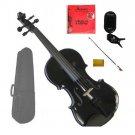 "Merano 11"" Black Viola,Case,Black Stick Bow+Rosin+2 Sets Strings+Chromatic Clip On Tuner"