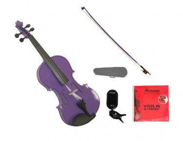 "Merano 15"" Purple Viola,Case,Purple Stick Bow+Rosin+2 Sets Strings+Chromatic Clip On Tuner"