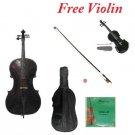 1/16 Size Black Cello,Black Bow,Bag,String+1/16 Size Black Violin Set,Save for 2 Students