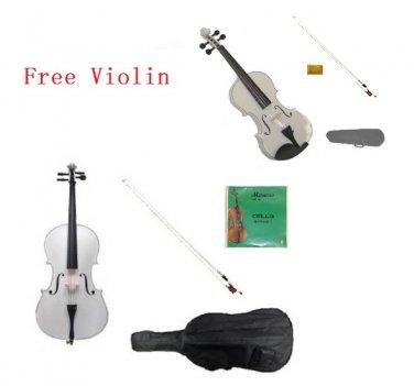 4/4 Size White Cello,White Bow,Bag,String+4/4 Size White Violin Set,Save for 2 Students