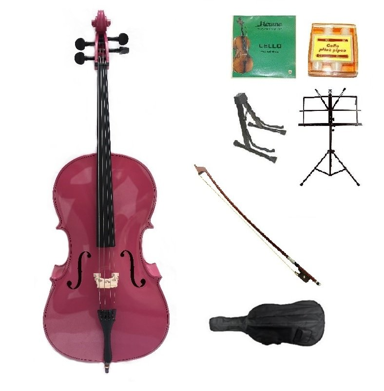 Merano 1/2 Size Hot Pink Cello w/Bag,Bow+Rosin+2 Sets Strings+Tuner+Cello Stand+Music Stand