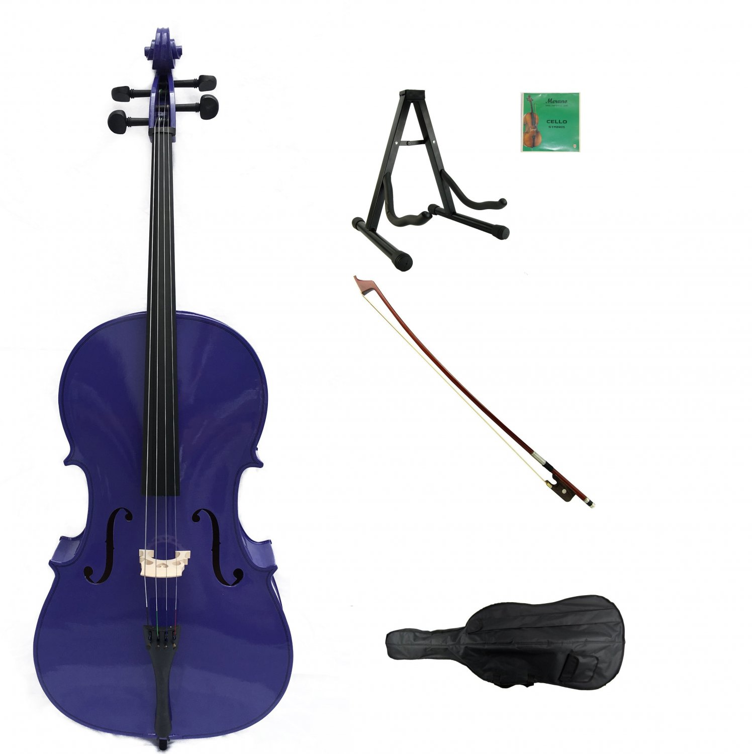 Merano 1/4 Size Purple Cello with Bag and Bow + 2 Sets of Strings + Rosin + Cello Stand