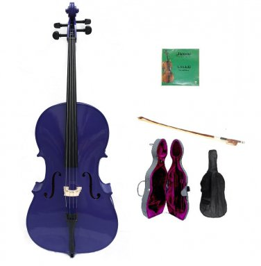 Merano 4/4 Size Purple Cello, Hard Case,Soft Bag,Bow,2 Sets Strings, Rosin