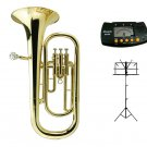 MERANO High Quality Eb Gold Brass Alto Horn with Case + Free Music Stand, Metro Tuner