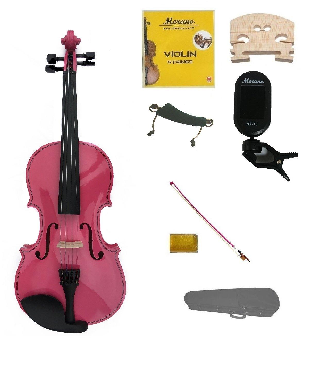 Merano 3/4 Size Pink Violin,Case,Pink Bow+Rosin+Strings+2 Bridges+Tuner+Shoulder Rest