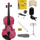 3/4 Pink Violin,Case,Pink Bow+Rosin+2 Bridges+Tuner+Shoulder Rest+Pink Stand+Mute