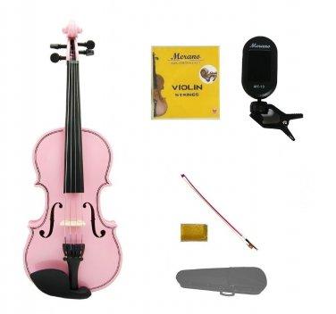 1/2 Size Pink Violin,Case,Pink Stick Bow+Rosin+2 Sets Strings+Clip On Tuner