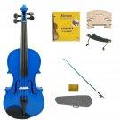1/2 Size Blue Violin,Case,Blue Bow+Rosin+2 Sets Strings+2 Bridges+Shoulder Rest