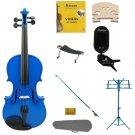 1/4 Blue Violin,Case,Blue Bow+Rosin+2 Bridges+Tuner+Shoulder Rest+Blue Stand