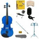 3/4 Blue Violin,Case,Blue Bow+Rosin+2 Bridges+Tuner+Shoulder Rest+Blue Stand+Mute