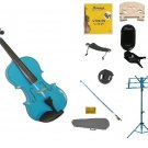 1/4 Blue Violin,Case,Blue Bow+Rosin+2 Bridges+Tuner+Shoulder Rest+Blue Stand+Mute