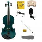 3/4 Size Green Violin,Case,Green Bow+Rosin+Strings+2 Bridges+Tuner+Shoulder Rest