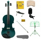 3/4 Green Violin,Case,Green Bow+Rosin+2 Bridges+Tuner+Shoulder Rest+Green Stand