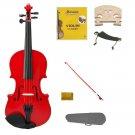 1/16 Size Red Violin,Case,Red Bow+Rosin+2 Sets Strings+2 Bridges+Shoulder Rest