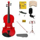 1/4 Red Violin,Case,Red Bow+Rosin+2 Bridges+Tuner+Shoulder Rest+Red Stand