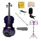 1/10 Purple Violin,Case,Purple Bow+Rosin+2 Bridges+Tuner+Shoulder Rest+Purple Stand