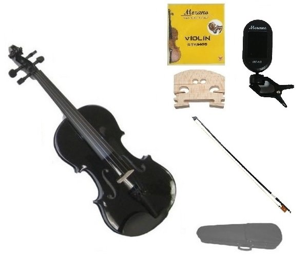 1/10 Size Black Violin,Case,Black Bow+Rosin+2 Sets Strings+2 Bridges+Tuner
