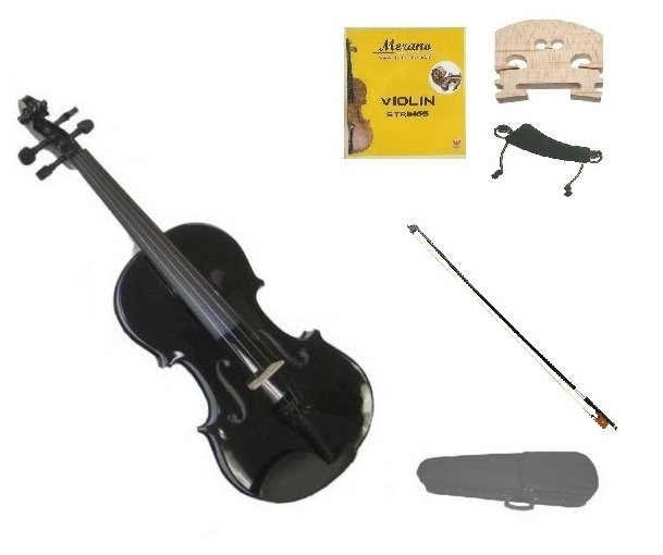 1/10 Size Black Violin,Case,Black Bow+Rosin+2 Sets Strings+2 Bridges+Shoulder Rest