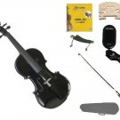 1/2 Size Black Violin,Case,Black Bow+Rosin+Strings+2 Bridges+Tuner+Shoulder Rest