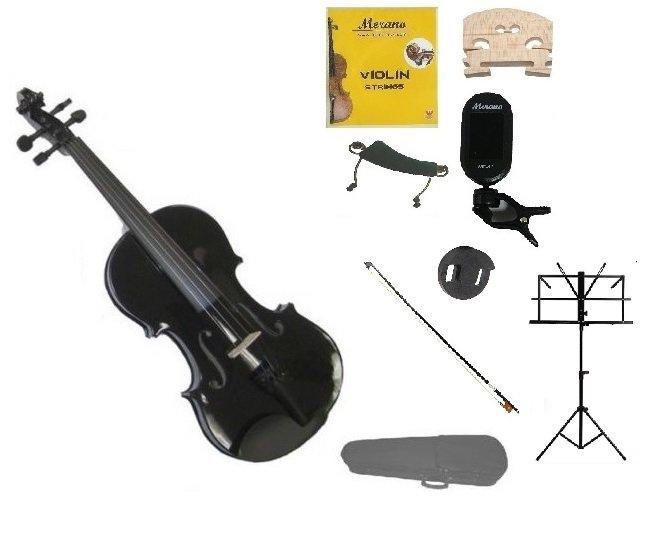 4/4 Black Violin,Case,Black Bow+Rosin+2 Bridges+Tuner+Shoulder Rest+Black Stand+Mute