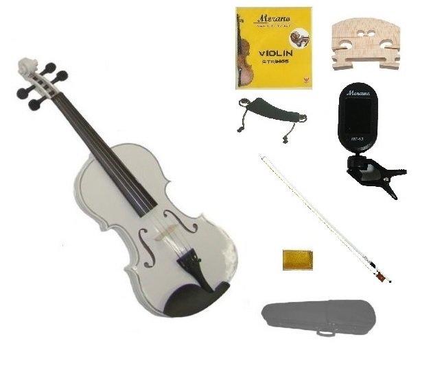 1/10 Size White Violin,Case,Black Bow+Rosin+Strings+2 Bridges+Tuner+Shoulder Rest