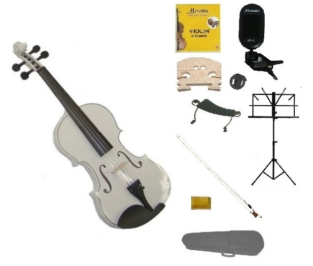 1/10 White Violin,Case,White Bow+Rosin+2 Bridges+Tuner+Shoulder Rest+Black Stand+Mute