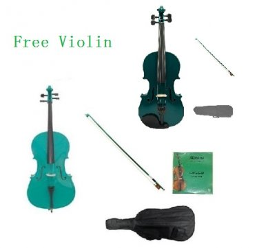 4/4 Size Green Cello,Green Bow,Bag,String+4/4 Size Green Violin Set,Save for 2 Students