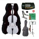 3/4 Size White Cello,Hard Case,Soft Bag,Bow,Strings,Metro Tuner,2 Stands,Mute