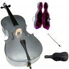 Merano 1/2 Size Silver Cello with Case, Bag, Bow, Rosin