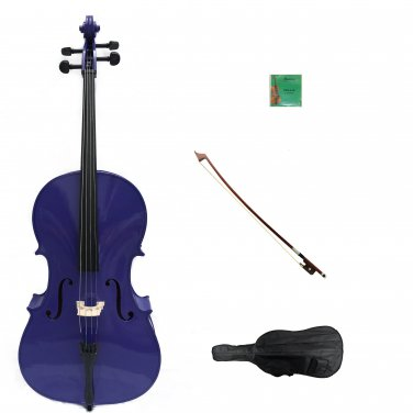 Merano 1/10 Size Purple Cello with Bag and Bow + Extra Set Strings + Free Rosin