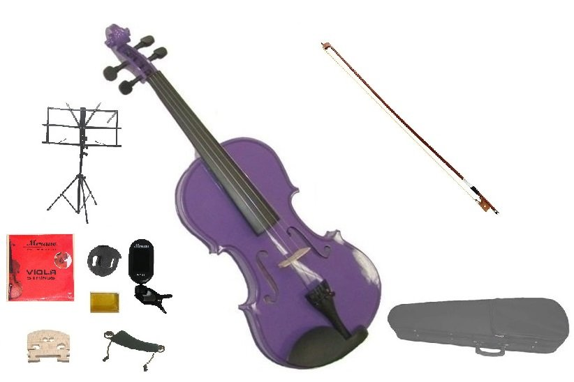"""Merano Acoustic 13"""" PURPLE Student Viola,Case,Bow & Much More"""