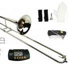 Merano B Flat Silver Nickel Slide Trombone with Case+Free Metro Tuner+Music Stand