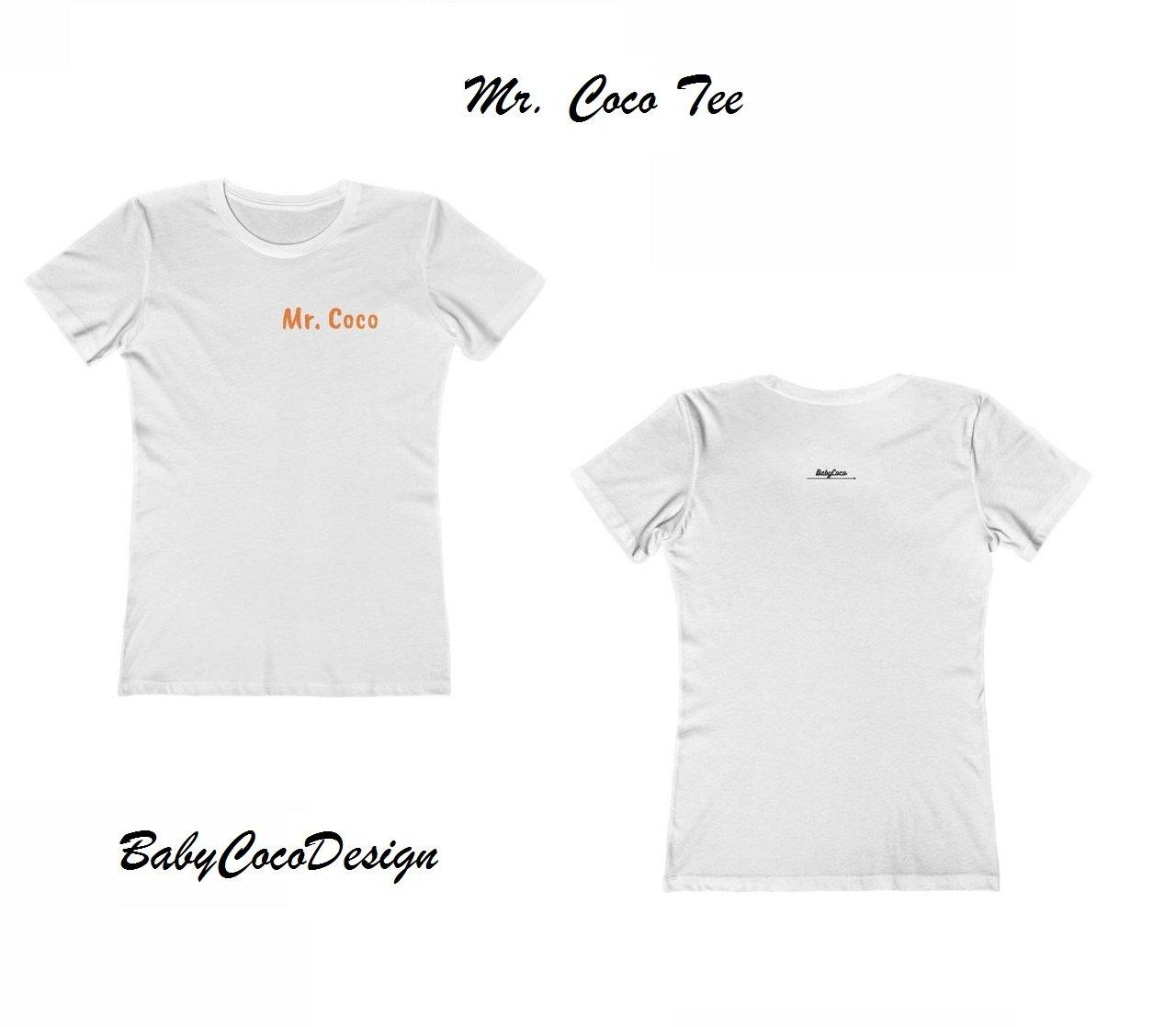 BabyCocoDesign Mr. Coco Tee Shirt - White / Orange, Size XL