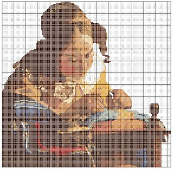 Lacemaker by Vermeer in Counted Cross Stitch Pattern