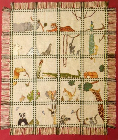 Safari Animals Afghan Sampler Cross Stitch Leaflet Pattern