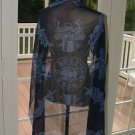 A&G  ROCK N ROLL COUTURE SHEER BLUE SILK PRESTIGE SCARF SHAWL NEW $140.00 SALE