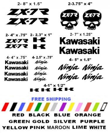 KAWASAKI ZX-7R CHOOSE YOUR COLOR VINYL DECALS STICKERS MOTORCYCLE RACING