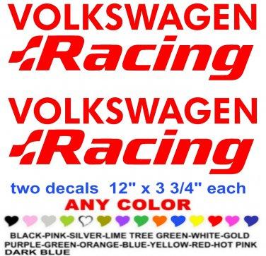VOLKSWAGEN RACING STICKER DECALS  RACE