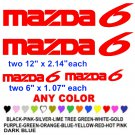 MAZDA 6 STICKERS DECALS  RACE