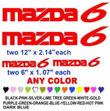 MAZDA 6 STICKERS DECALS  RACE