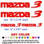 MAZDA 3 STICKERS DECALS  RACE