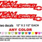 TEAM MONTE CARLO CHEVY CHEVROLET STICKER DECALS  RACE