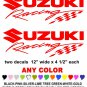 SUZUKI RACING  STICKER DECALS  RACE