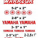 YAMAHA WARRIOR STICKER DECALS  RACE QUAD